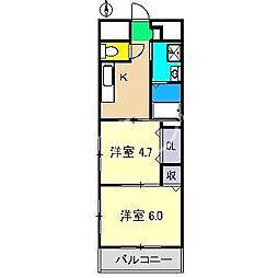 PERLA南川添II[2階]の間取り