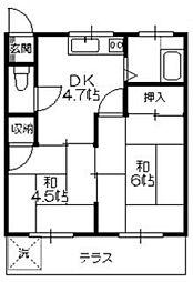 コーポ峯[2階]の間取り