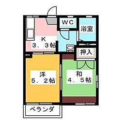 エトワールK A[1階]の間取り