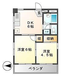 愛知県名古屋市西区幅下1の賃貸マンションの間取り