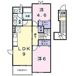 アメニティカスガⅢ[2階]の間取り