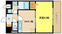兵庫県姫路市北八代1丁目の賃貸マンションの間取り
