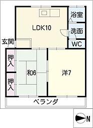 コーポ米野[3階]の間取り