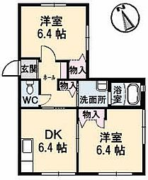 岡山県岡山市北区首部の賃貸アパートの間取り