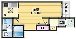M s鳳 1階1Kの間取り