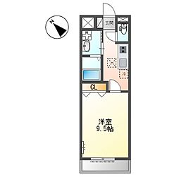 JR阪和線 日根野駅 徒歩10分の賃貸アパート 1階1Kの間取り