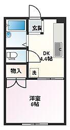 ヤングハイツ飯塚[206号室]の間取り