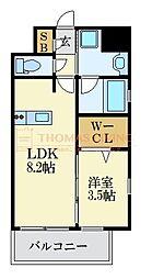 LANDIC K2620 6階1LDKの間取り