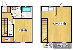 Casa oki B 2階1LDKの間取り