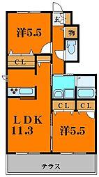 サンドミール世木II 1階3LDKの間取り