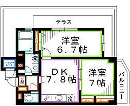 M&M 5階2DKの間取り