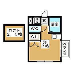 都営浅草線 馬込駅 徒歩5分の賃貸アパート 2階ワンルームの間取り