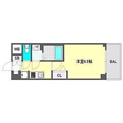 プレサンス大阪ドームシティスクエア 3階1Kの間取り