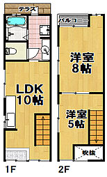[一戸建] 大阪府大阪市此花区伝法4丁目 の賃貸【/】の間取り