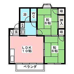 パーシモン壱番館[2階]の間取り