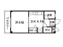 福岡県北九州市八幡西区医生ケ丘の賃貸アパートの間取り