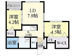 北海道札幌市東区北7条東3丁目の賃貸マンションの間取り