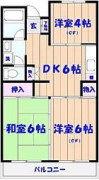市川カトレアハイツ松塚[3階]の間取り