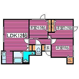 北海道札幌市東区中沼六条1丁目の賃貸アパート 2階3LDKの間取り