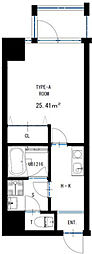 JR東西線 海老江駅 徒歩5分の賃貸マンション 6階1Kの間取り