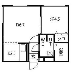 JR函館本線 桑園駅 徒歩3分の賃貸マンション 3階1DKの間取り