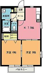 埼玉県上尾市原新町の賃貸アパートの間取り