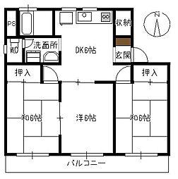 みどりマンション[302号室]の間取り