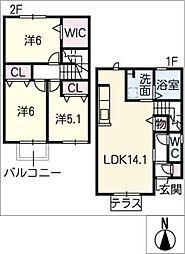 [タウンハウス] 愛知県岡崎市柱町字福部池 の賃貸【/】の間取り