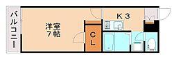 レオパレスラーラ 2階1Kの間取り