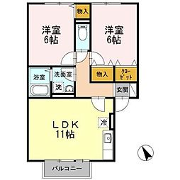 ソレーユガーデン B棟[2階]の間取り