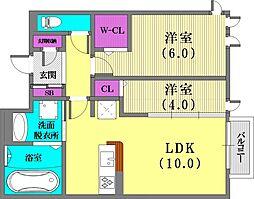 兵庫県神戸市兵庫区松原通1丁目の賃貸アパートの間取り