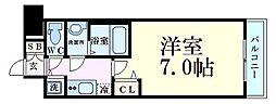 プレサンス大阪福島シエル 11階1Kの間取り