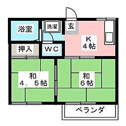 タウニィ イイダ B[2階]の間取り