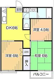 東京都東大和市清水3丁目の賃貸アパートの間取り