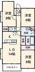 静岡県三島市三好町の賃貸マンションの間取り