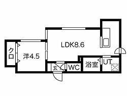 Balboni表参道(バルボーニ) 1階1LDKの間取り
