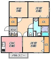 兵庫県神戸市北区有野町二郎の賃貸アパートの間取り