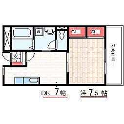 神戸市西神・山手線 学園都市駅 徒歩3分の賃貸マンション 4階1DKの間取り