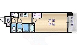 ポルト・ボヌール天王寺ミラージュ 7階1Kの間取り