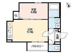 Osaka Metro中央線 朝潮橋駅 徒歩5分の賃貸アパート 2階1LDKの間取り