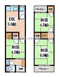 [テラスハウス] 大阪府大東市深野5丁目 の賃貸【/】の間取り