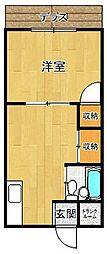 荒本ハイツ[1階号室]の間取り