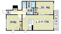 兵庫県姫路市青山北1丁目の賃貸アパートの間取り