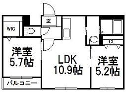 北海道札幌市白石区本郷通9丁目南の賃貸マンションの間取り