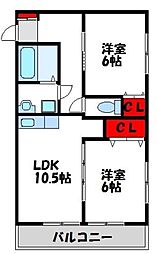 福岡県宗像市緑町の賃貸アパートの間取り