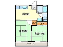 近鉄志摩線 志摩赤崎駅 徒歩15分の賃貸アパート 2階2DKの間取り