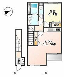 兵庫県姫路市飾磨区玉地1丁目の賃貸アパートの間取り