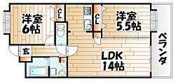 福岡県北九州市八幡東区松尾町の賃貸マンションの間取り