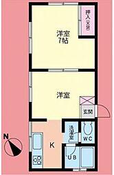神奈川県海老名市国分南1丁目の賃貸アパートの間取り