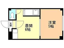 シャイニングガーデン 3階1DKの間取り